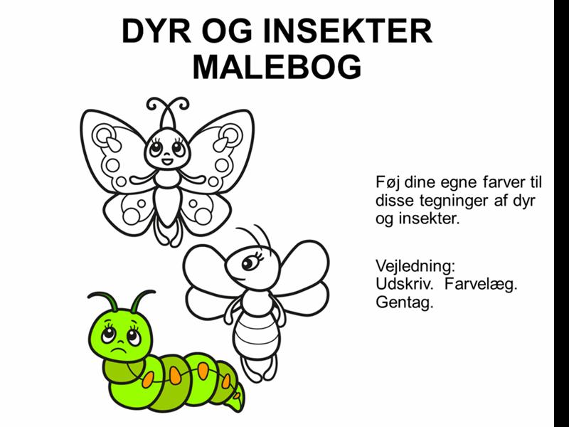 Malebog med dyr og insekter