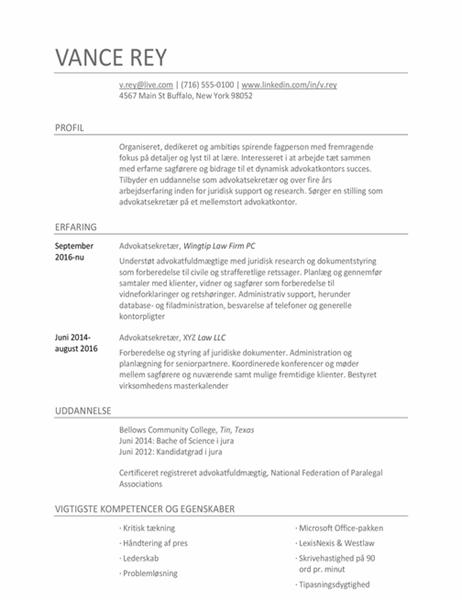 CV til advokatsekretær