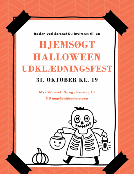 Invitation til Halloween med skeletter