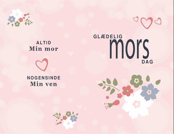 Mors dag-kort i lyserøde farver