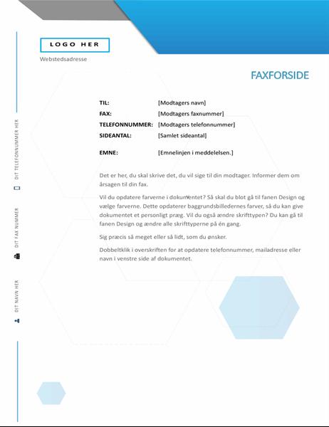 Faxforside med sekskant