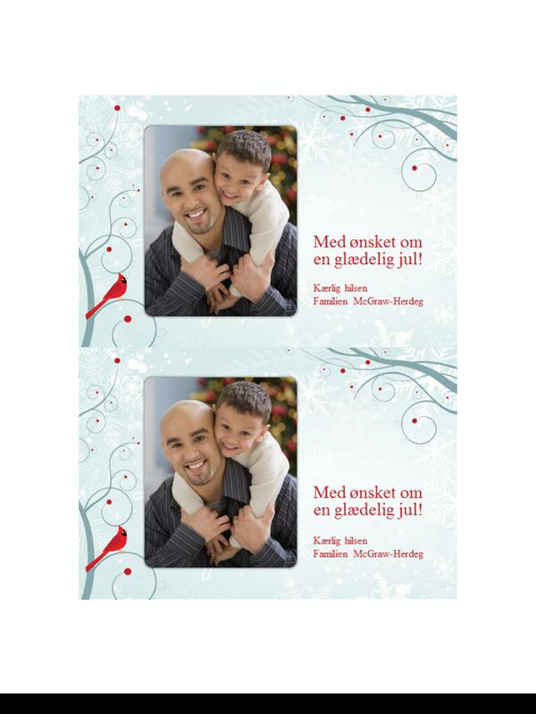 Julefotokort med snefnug (to pr. side)