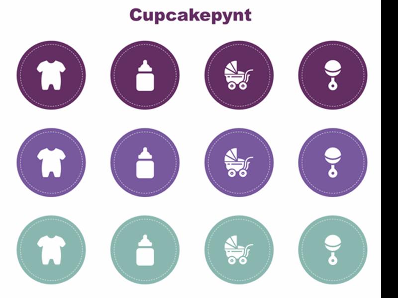 Cupcakepynt til babyshower
