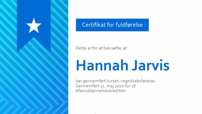 Certifikat for fuldførelse