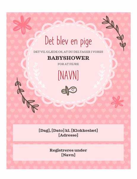 Invitation til graviditetsfest – pige