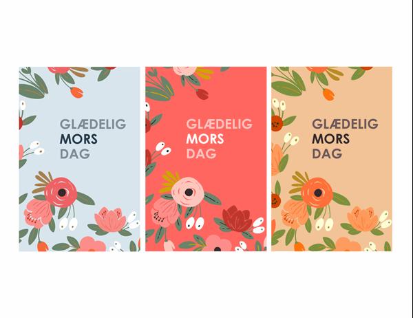 Mors dag-kort med elegante blomstertegninger