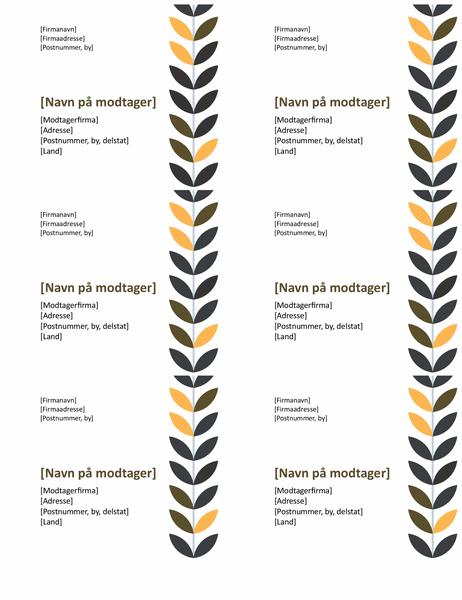 Mærkater med vinranke (6 pr. side)