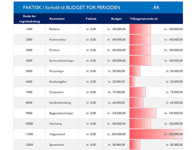 Generelt regnskab med budgetsammenligning