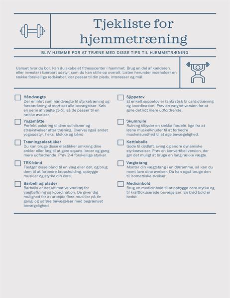 Tjekliste for hjemmetræning