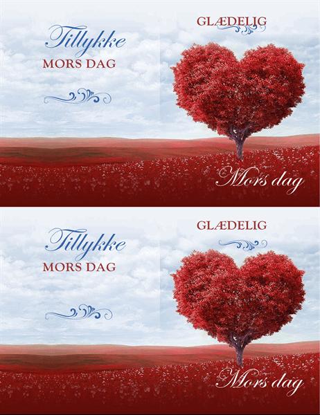Mors dag-kort med træ af hjerter