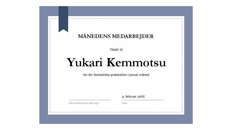 Diplom for månedens medarbejder