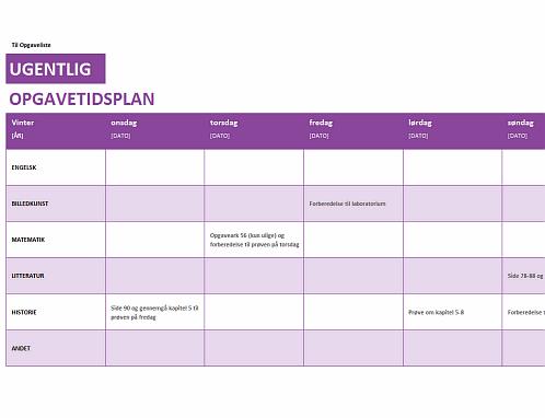 Liste over ugentlige opgaver