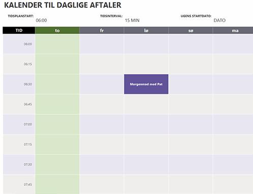 Kalender til daglige aftaler