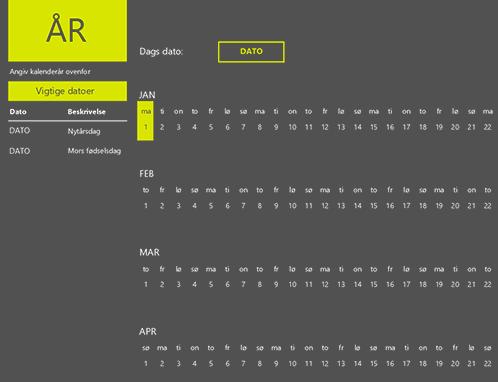 Stedsegrøn kalender
