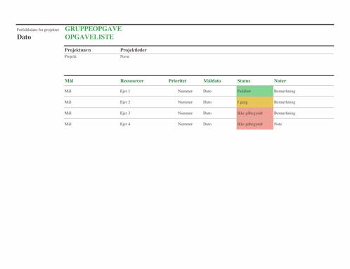 Opgaveliste for gruppeopgaver