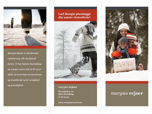 Trefløjet rejsebrochure (rødt og gråt design)