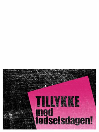 Fødselsdagskort, skraveret baggrund (pink, sort, midterfold)