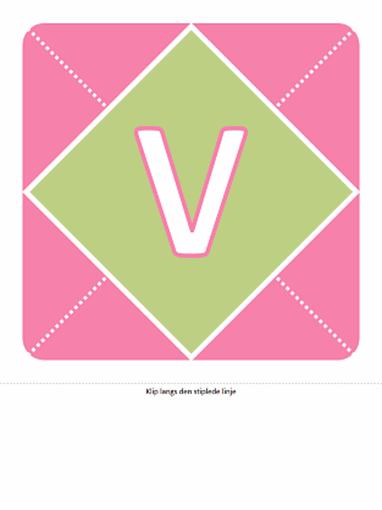 Banner med velkommen til en lille pige (pink, mørklilla, grøn)