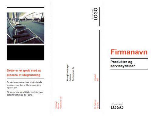 Trefløjet forretningsbrochure (design i sort og rødt)