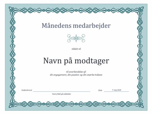 Certifikat for månedens medarbejder (design med en blå kæde)