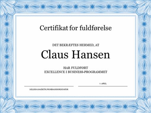 Certifikat for fuldførelse (blåt)