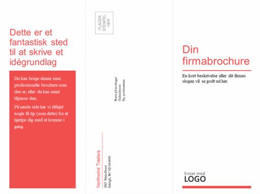 Tredelt virksomheds- og sundhedsbrochure (rødt/hvidt design)
