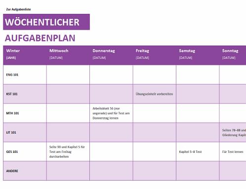 Wöchentliche Aufgabenliste