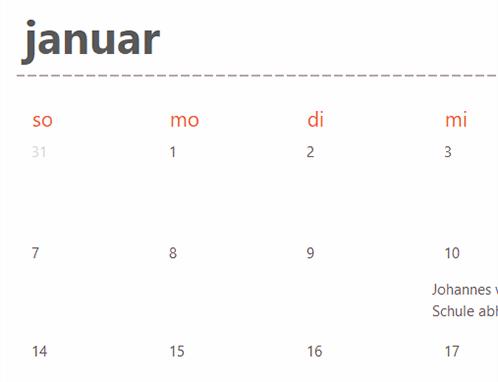 Registerkarten ewiger Kalender (weiß)