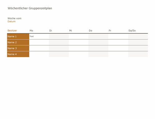 Wöchentlicher Gruppenzeitplan