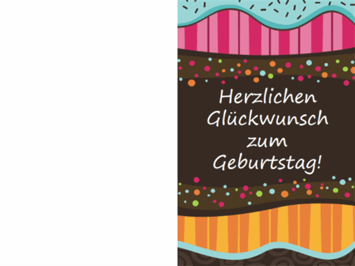 Geburtstagskarte - Punkte und Streifen (Kinder, Mittelfaltung)