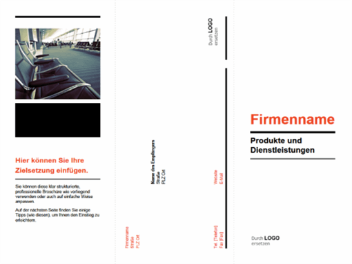 Dreifach gefaltete Geschäftsbroschüre (Design schwarz, rot)