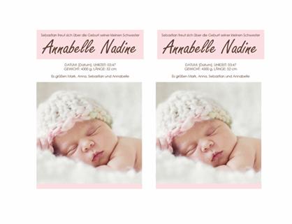 Geburtsankündigung für ein kleines Mädchen