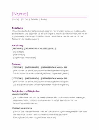 """Lebenslauf (Design """"Violett"""")"""