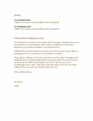 Formeller Geschäftsbrief