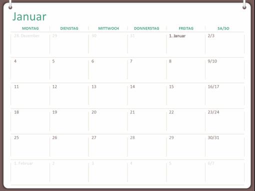 Klassischer Wandkalender (Mo–So, Zweiringdesign)