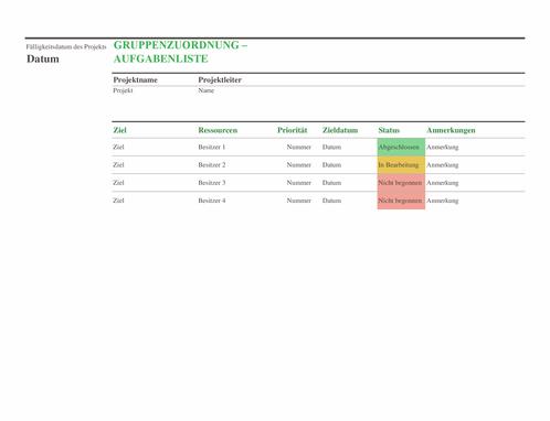 Aufgabenliste für Gruppenzuweisungen