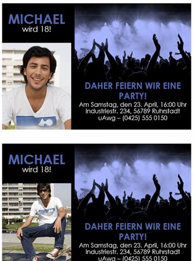 Partyeinladung (blau auf schwarz)