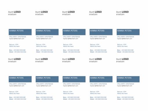 Visitenkarten, vertikales Layout mit Logo (10 pro Seite)