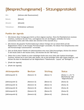 Sitzungsprotokoll (einfach)
