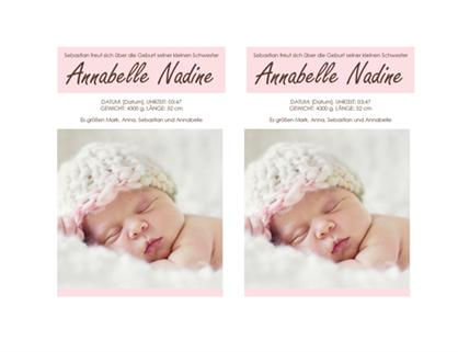 Geburtsanzeige für ein kleines Mädchen