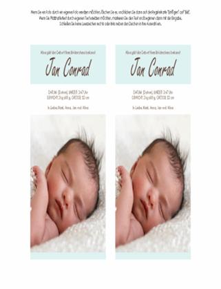Geburtsanzeige für einen kleinen Jungen