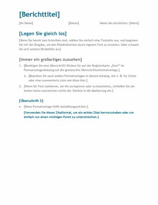 Einfacher Schüler-/Studentenbericht