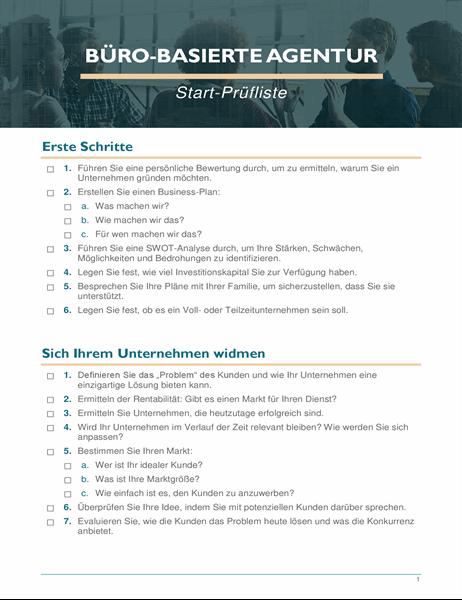 Checkliste für die Gründung eines Kleinunternehmens