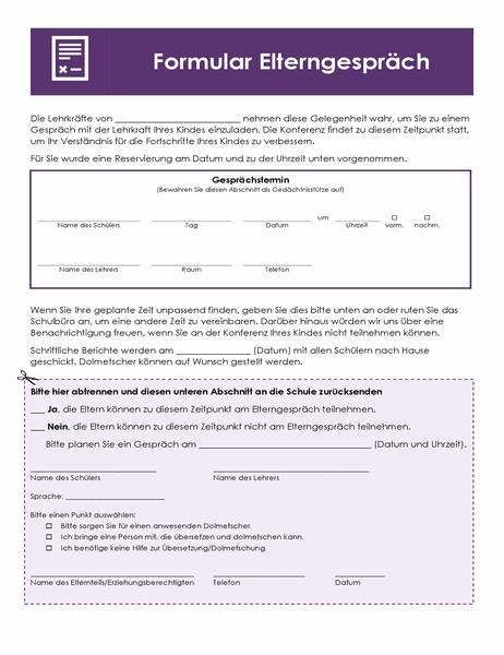 Elternsprechtag-Formular