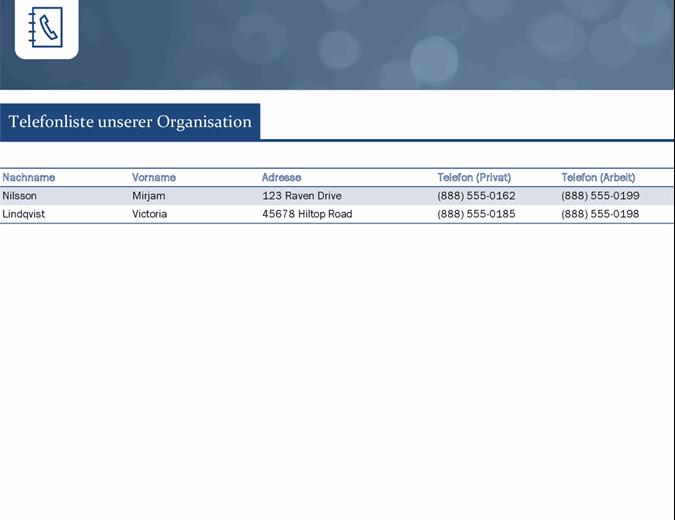 Kontaktliste für Kleinunternehmen