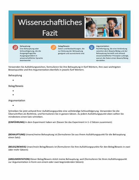 """Arbeitsblatt """"Wissenschaftliches Fazit"""""""