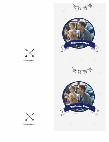"""Die """"Bester Papa der Welt""""-Karte (2 pro Seite)"""