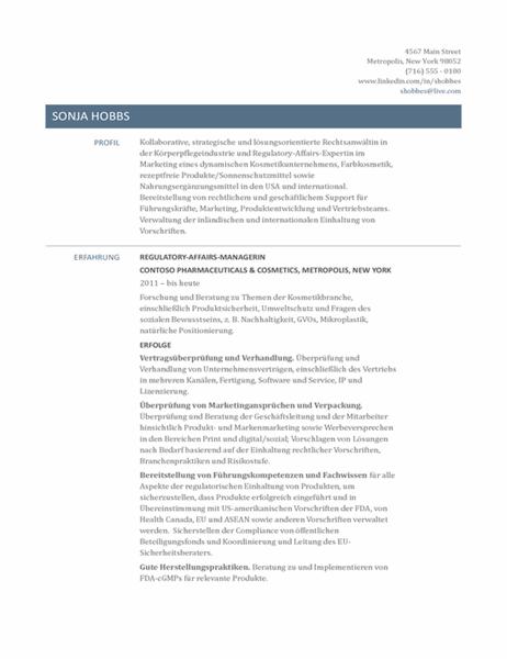 Lebenslauf für Regulatory Affairs Manager