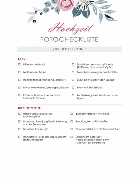 Hochzeitsfoto-Checkliste