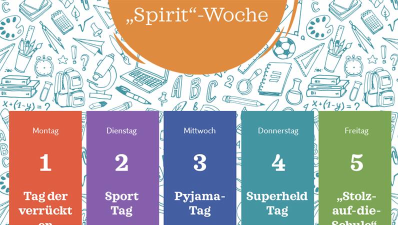 """Kalender für die """"School Spirit Week"""""""